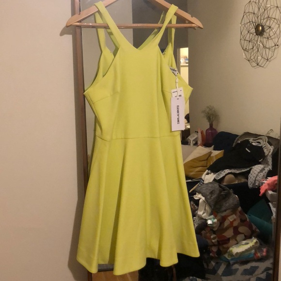 Elizabeth and James Lime fit and flare dress Sz 2 1b9af34eb